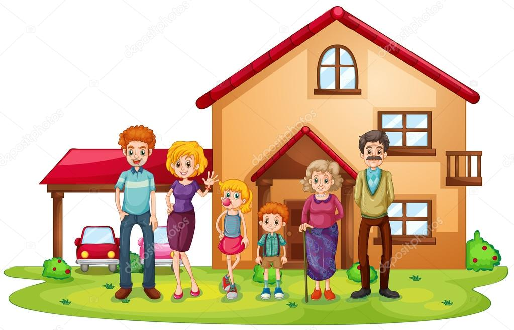 A Big Family In Front Of A Big House Stock Vector
