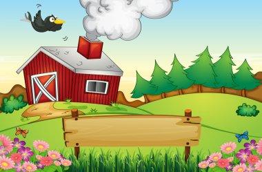A farm with an empty signboard