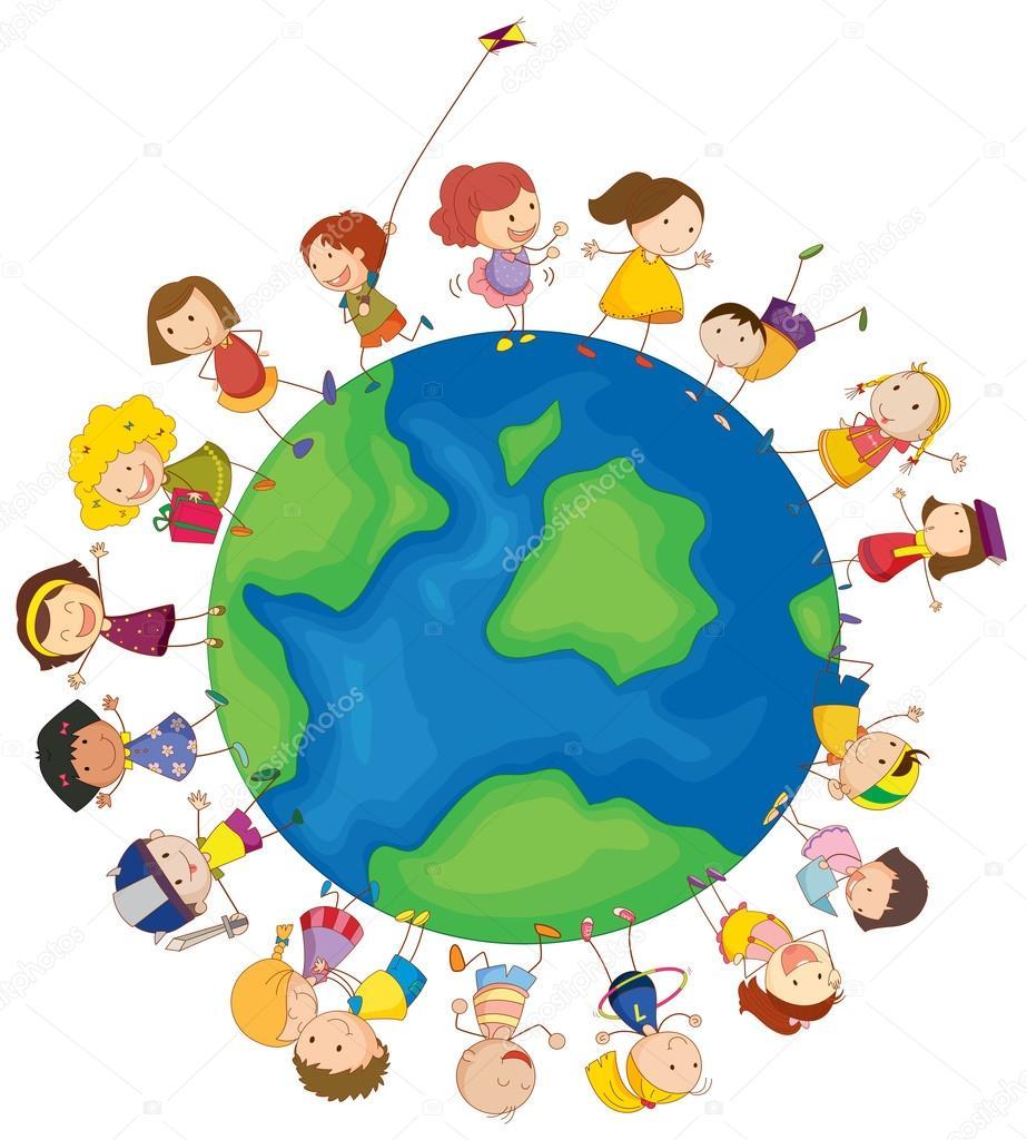 niños alrededor del mundo — Archivo Imágenes Vectoriales ...