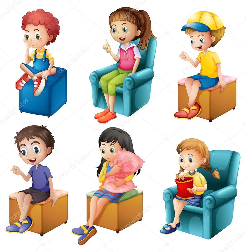 Kids Sitting Stock Vector 169 Interactimages 43546069