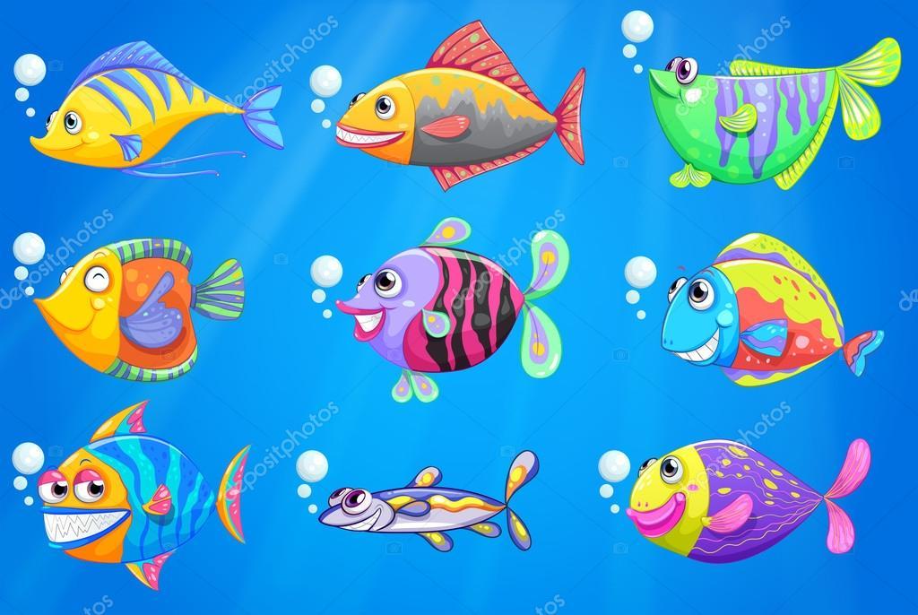 Un mare con una scuola di pesci colorati vettoriali for Immagini pesciolini