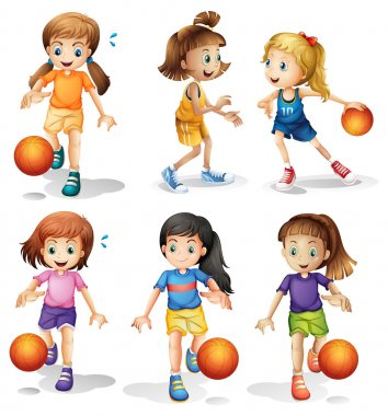 Illustration of the little female basketball players on a white background stock vector