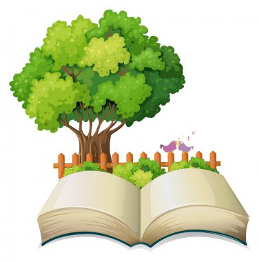An empty open book and a tree with a fence
