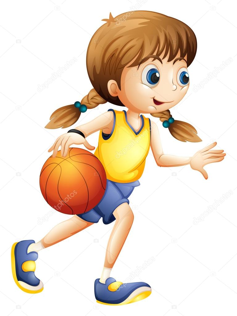 Cartoon Characters Playing Basketball : A cute young lady playing basketball — stock vector