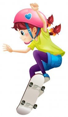 A lady with a pink helmet skateboarding