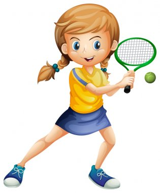 Illustration of a pretty lady playing tennis on a white background stock vector