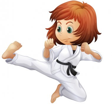 A brave young lady doing karate
