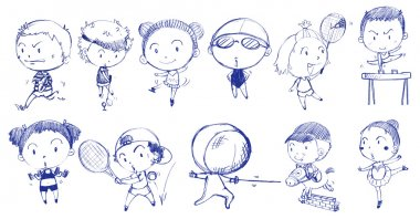 Blue doodle design of people playing with the different sports