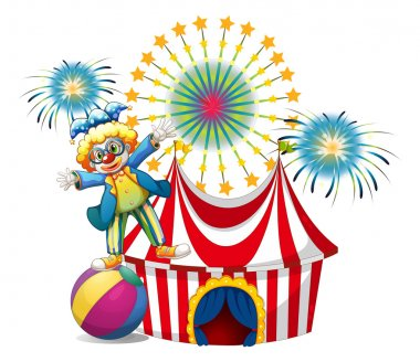 A male clown playing outside the tent