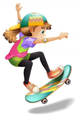 A lady with a colourful skateboard