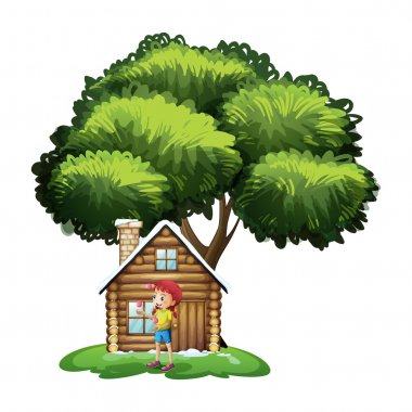 A house under the tree with a little girl playing