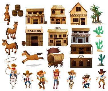 Illustration of cowboys and buildings stock vector