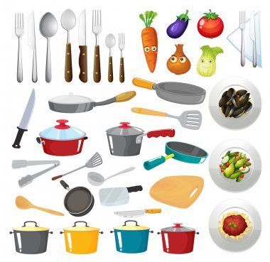 Illustration of kitchen untensils clip art vector