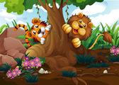 Ein Tiger und ein Löwe spielen am Wald