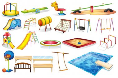 Ilustration of a set of equipment in a playground stock vector
