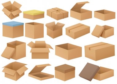 Ilustration of a set of different cardboard boxes stock vector