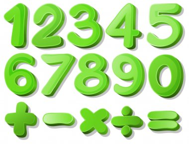 Illustration of a set of green numbers clip art vector