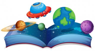 Book with planets and UFO