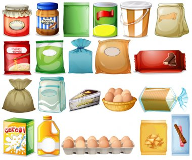 Illustration of a set of foods on a white background stock vector