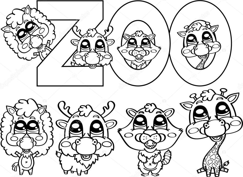 colorear personajes lindo zoológico — Vector de stock © boyusya ...