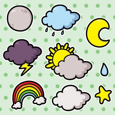 Collection of cute cartoon vector weather icons clip art vector