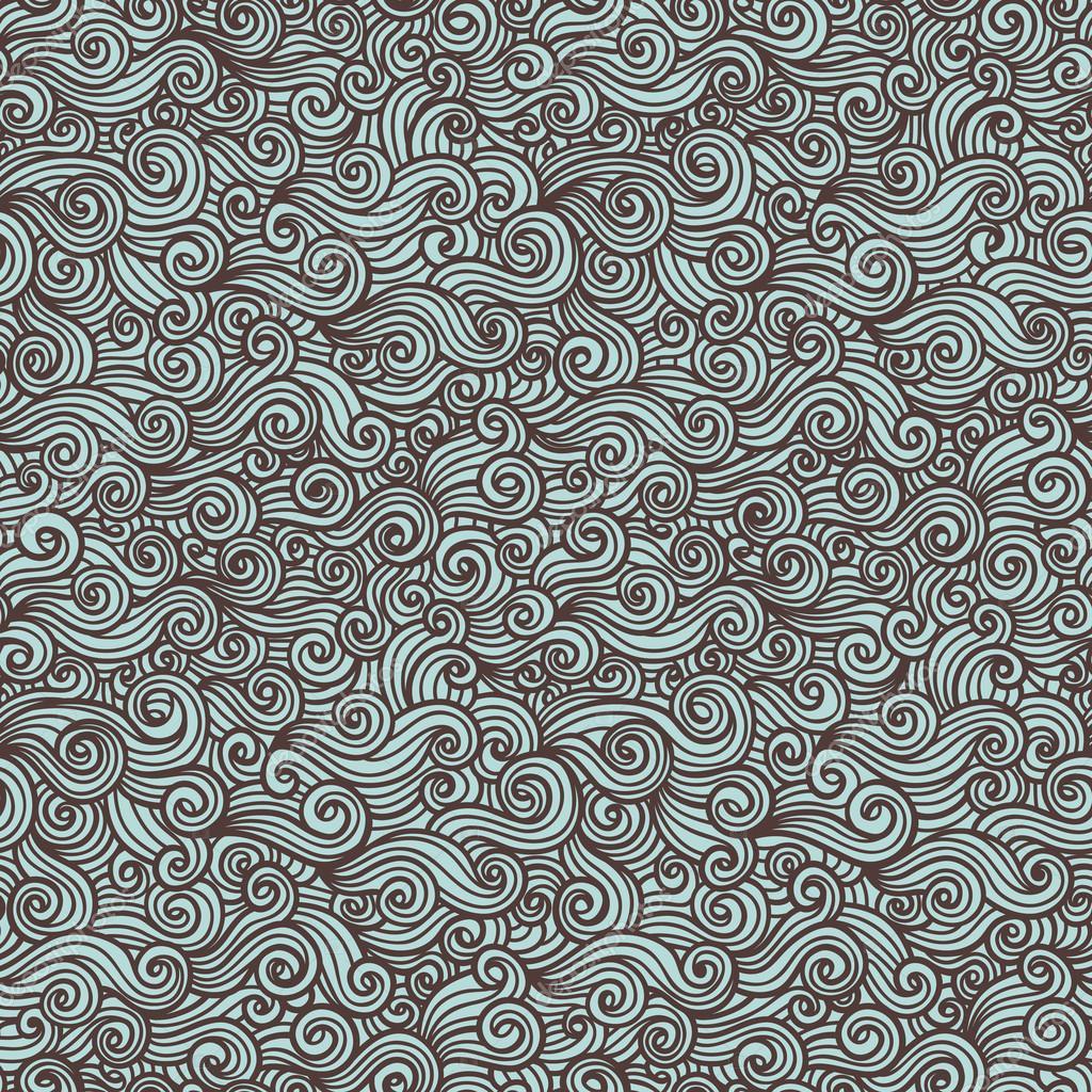 Doodle sea pattern .