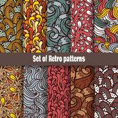 retro doodle vzor kolekce