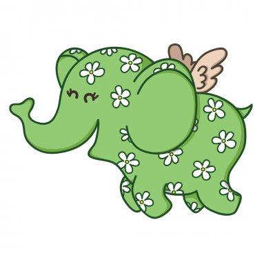 Cute doodle flying elephant.