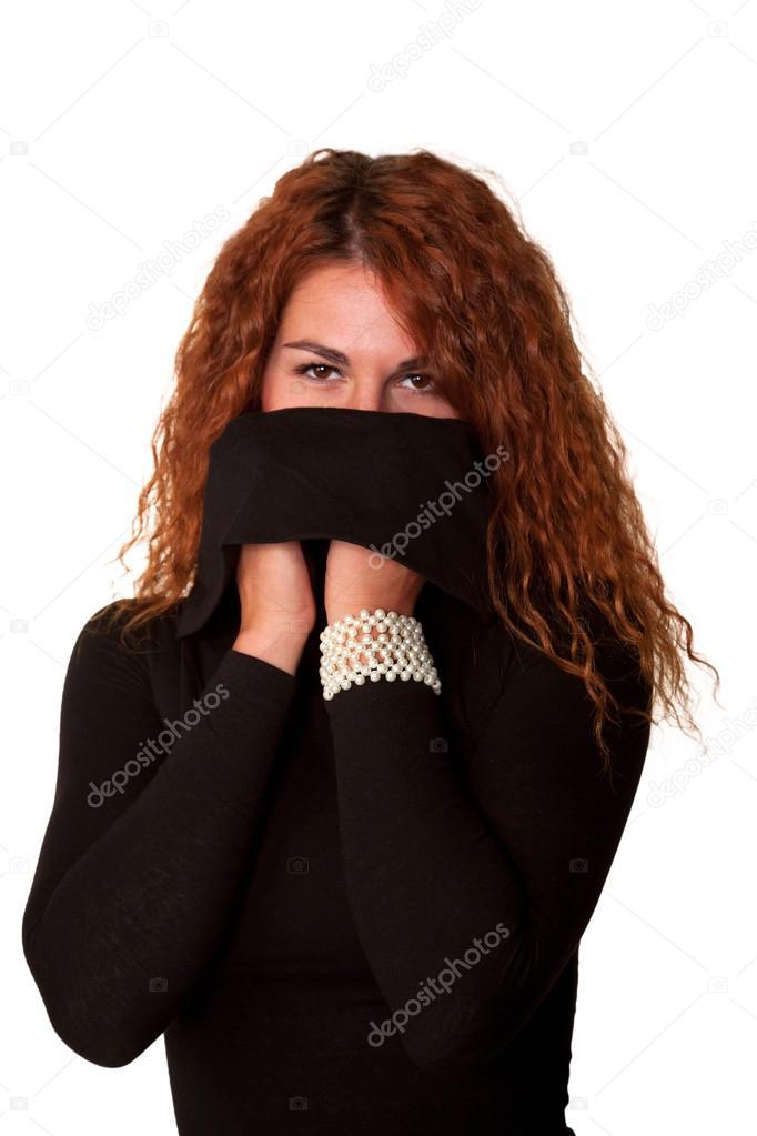 cheap for discount d5687 40e40 Sexy donna rossa in maglioncino nero — Foto Stock ...