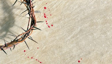 Crown of thorns with blood on grungy background