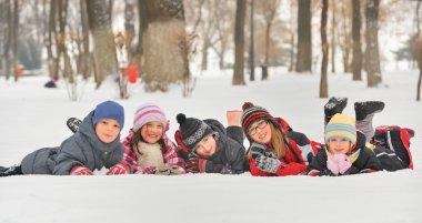 Children in the snow in winter