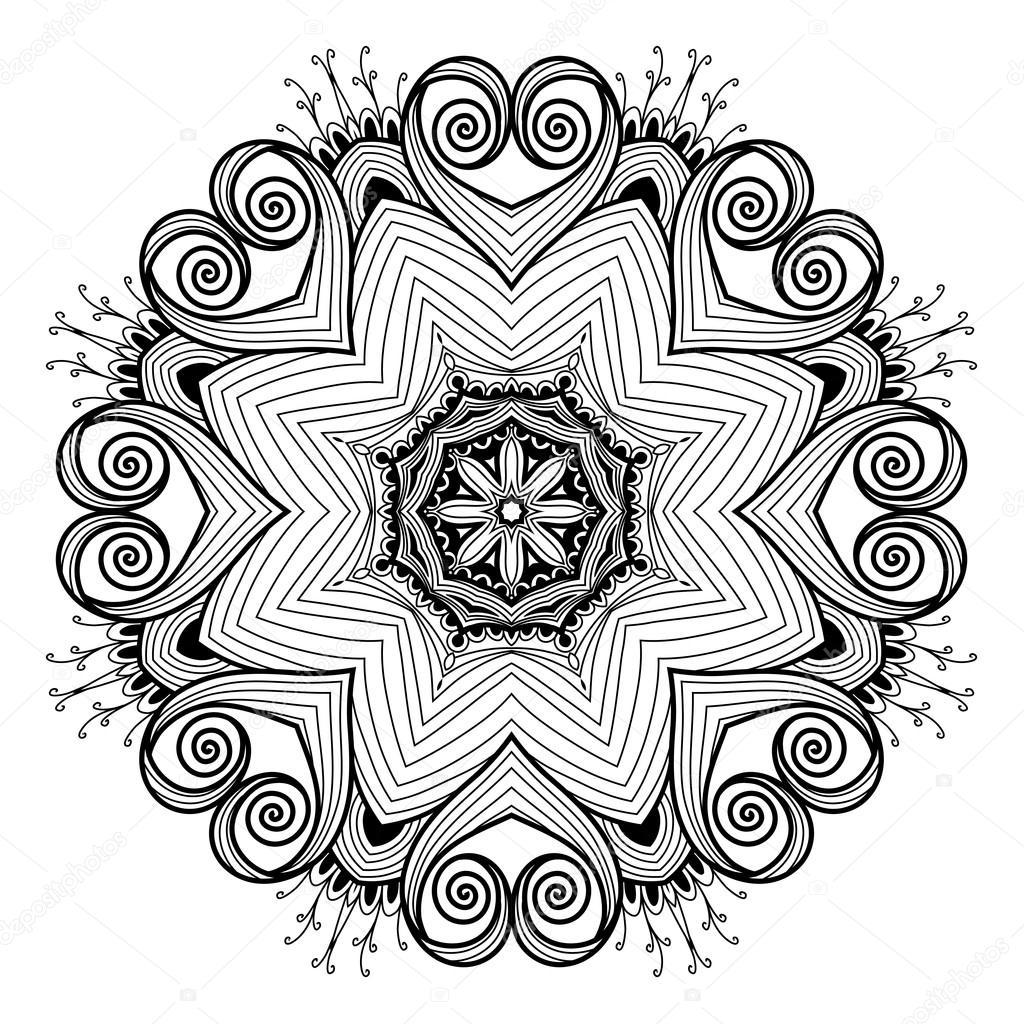 ornamental redondo patrón de encaje es como mandala — Archivo ...