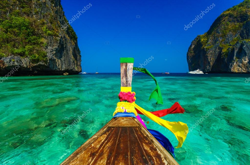 Traditional longtail boat in Maya bay on Koh Phi Phi Leh Island,