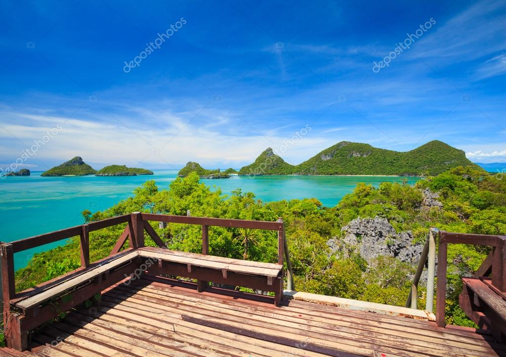 Bird eye view of Angthong national marine park, koh Samui, Thail