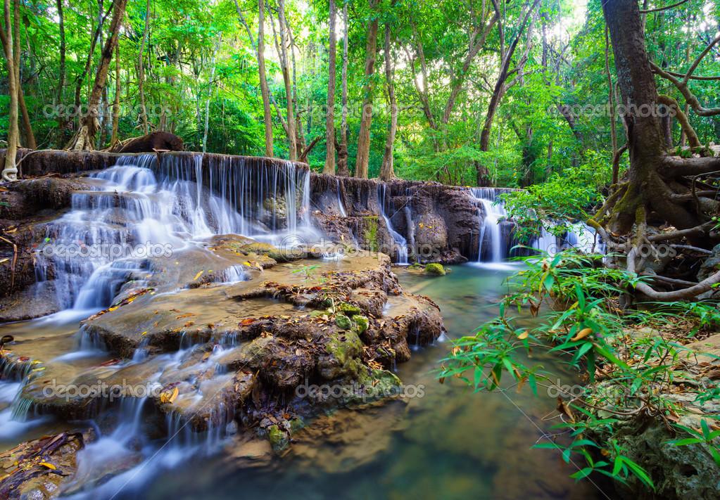 Фотообои Deep forest Waterfall in Kanchanaburi, Thailand