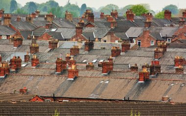 Suburban rooftops common urban scene
