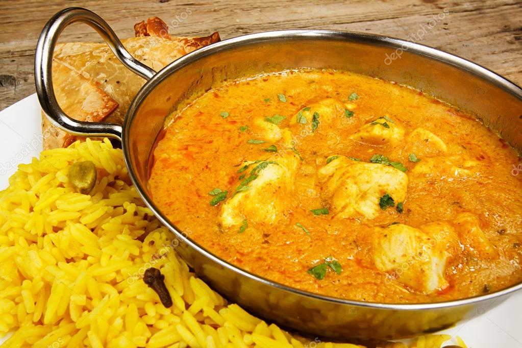 Chicken Korma In Balti Dish With Rice Stock Photo Stocksolutions
