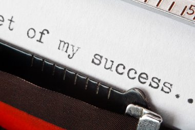 success phrase typed on typewriter