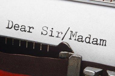 letter writing intro text on retro typewriter