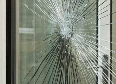 Smashed glass window pane
