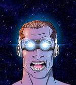 Mann mit futuristischer 3-D-Brille