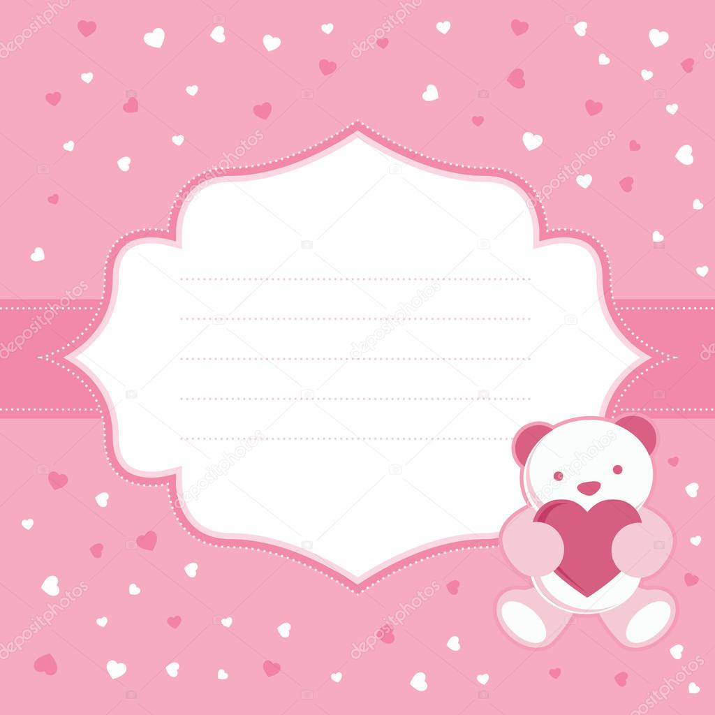 Pink greeting card with teddy bear for baby girl baby shower pink greeting card with teddy bear for baby girl baby shower vector illustration kristyandbryce Images