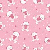 Fotografie nahtlose Rosa Baby-Hintergrund mit Teddybär und Herzen. Vektor-illustration