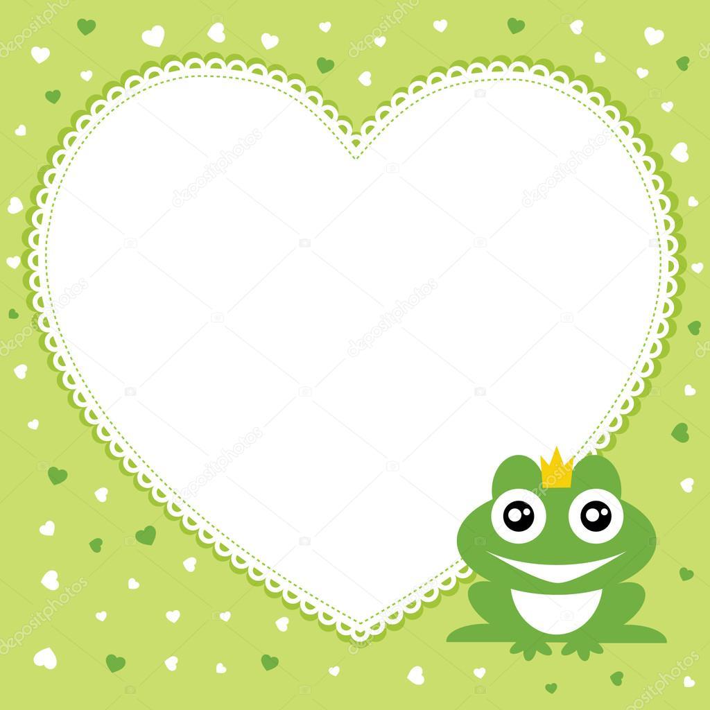 el príncipe rana con marco de forma de corazón. ilustración ...