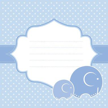 Baby boy announcement card. Vector illustration.