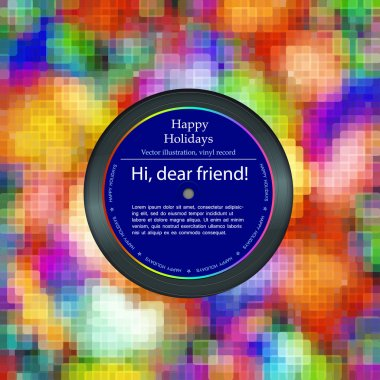 Vinyl record in the envelope, colorful background