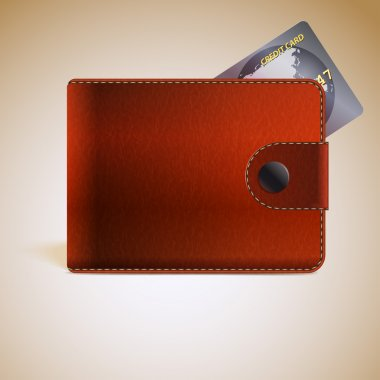Leather wallets with credit card