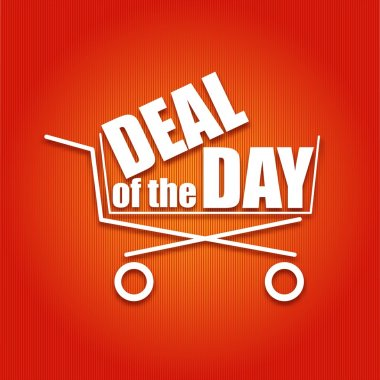 Deal of the day poster with a basket, vector illustration