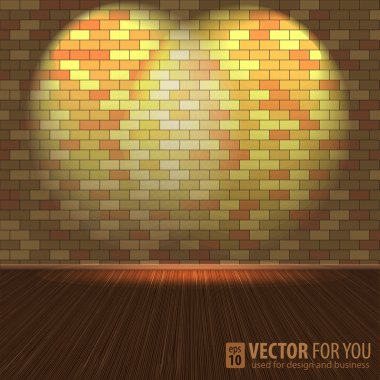 Brick wall with lighting and wooden floors, vector illustration