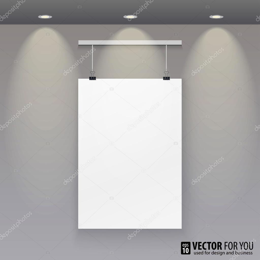 Vektor-Muster-Papier (Poster, Bilderrahmen) mit Licht an der Wand ...